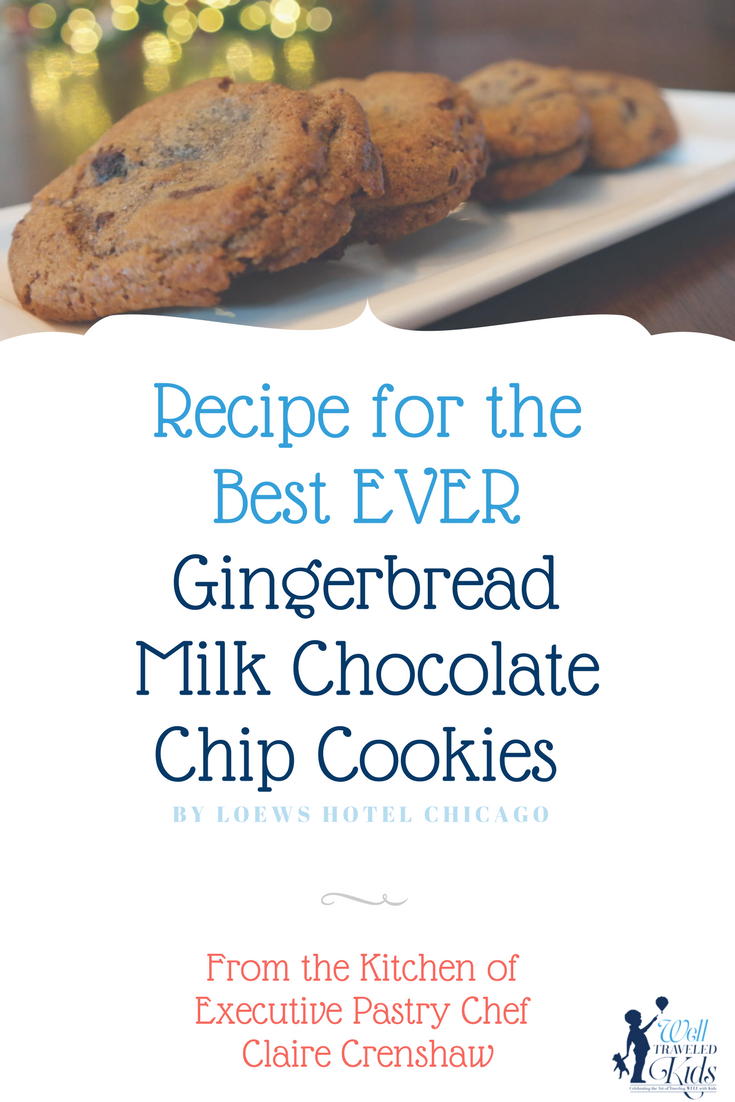 Recipe for the Best EVER Gingerbread Milk Chocolate Chip Cookies by Loews Chicago Hotel ****** holiday cookies | Gingerbread cookies | Best cookie recipes | gingerbread chocolate chip cookie recipes | Best holiday cookies ever | famous cookie recipe | delicious cookies | yummy cookies