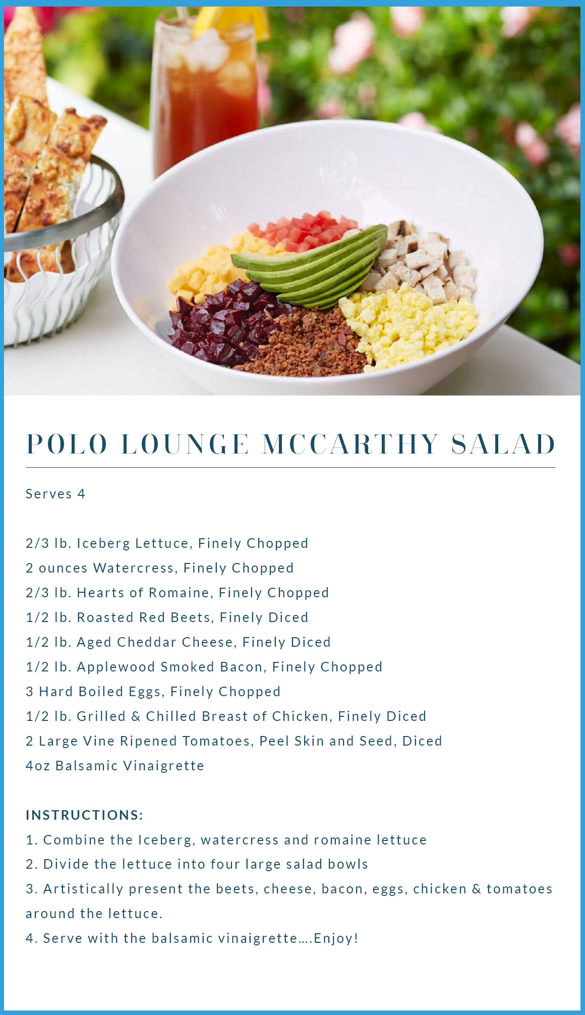 BEST EVER Salad Recipe: The Famous McCarthy Salad at the Beverly Hills Hotel - OMG This salad recipe is so good!! ********* Healthy salad recipe | Best Ever Salad Recipe | Beverly Hills Hotel McCarthy Salad recipe | Polo Lounge Beverly Hills McCarthy Salad | Whole 30 | Paleo Salad