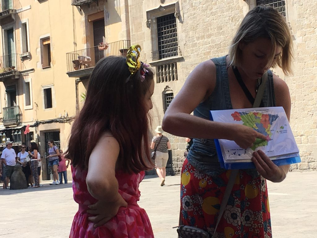 Sightseeing tour in Barcelona Spain with kids