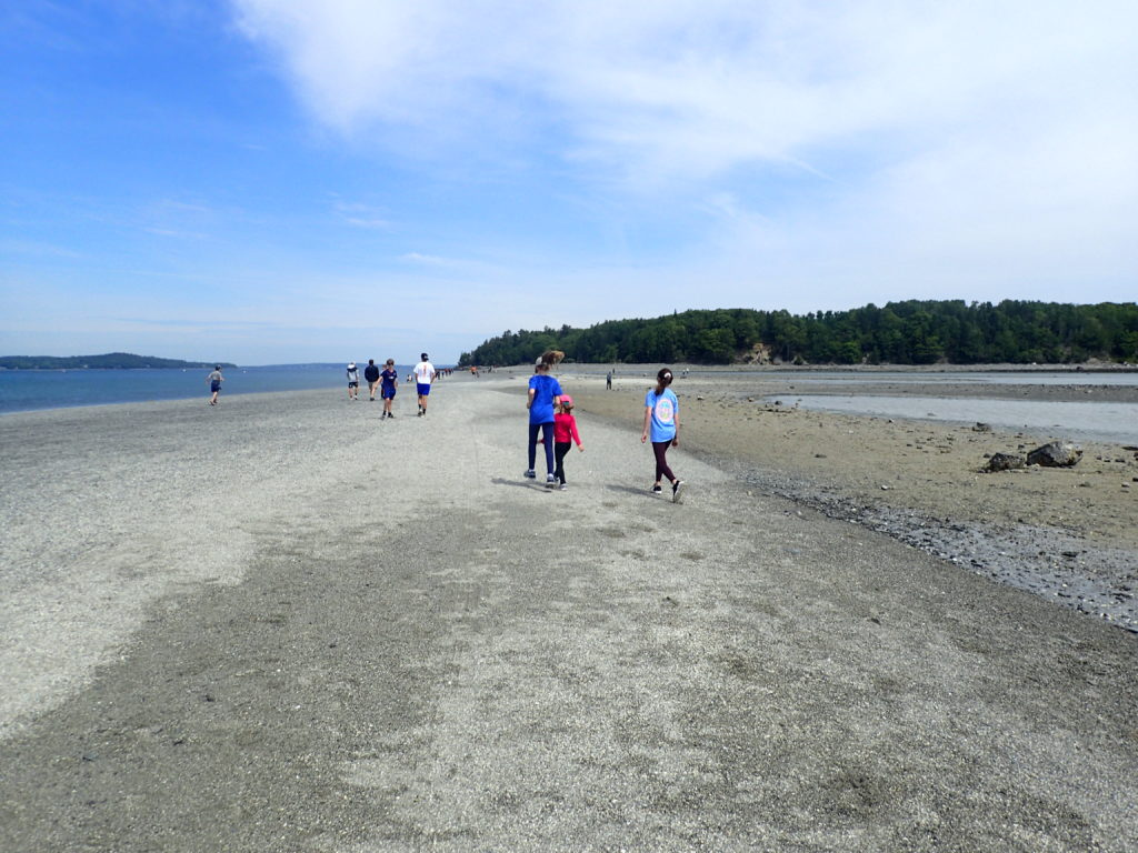 Sand Bar at low tide Bar Harbor Maine with kids