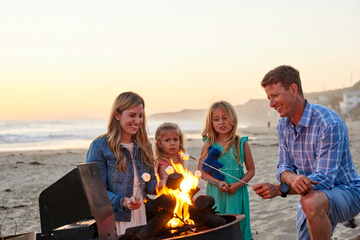 smores on the beach - well traveled kids