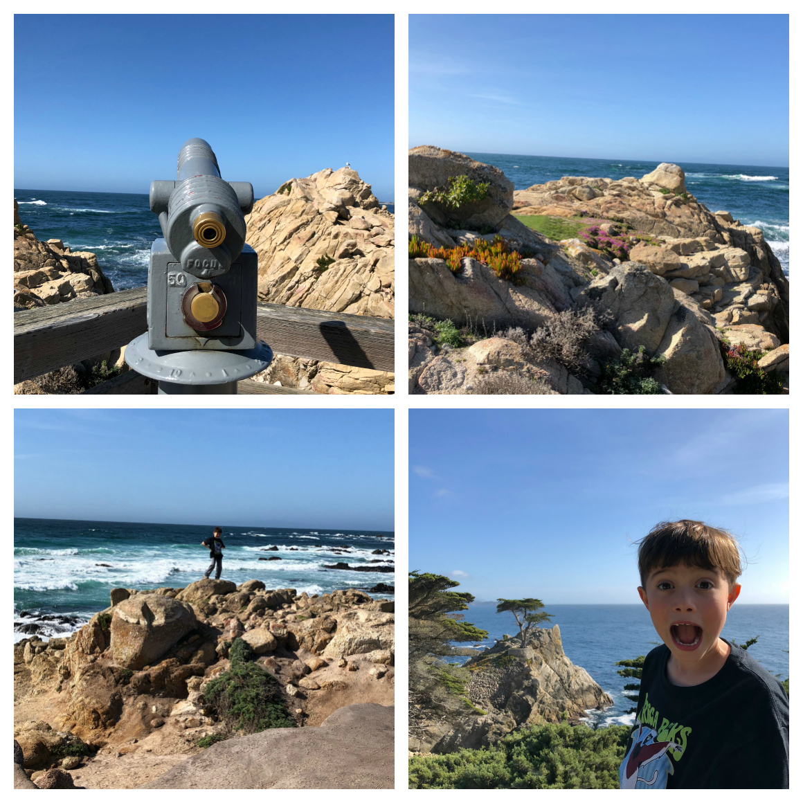 17 mile drive Pebble beach with kids - well traveled kids